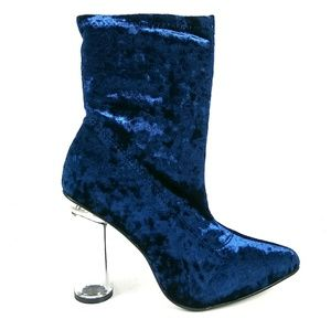 Shoes - Navy Blue Clear Chunky Heel Bootie